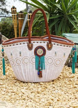 Beach Bag White Turquoise