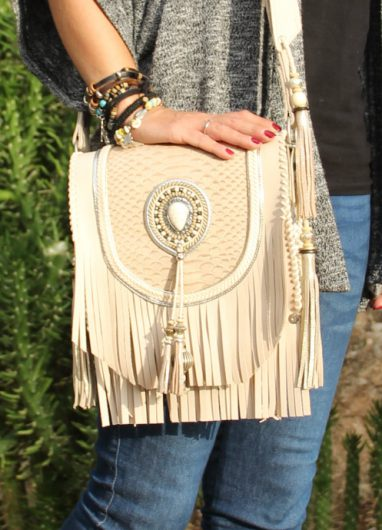 Boho Shoulder Bag Beige Winter