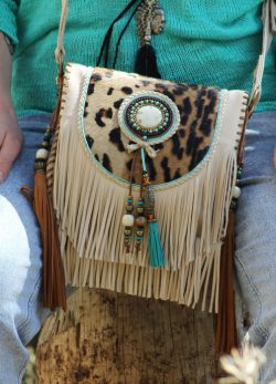 Boho shoulder bag white panther